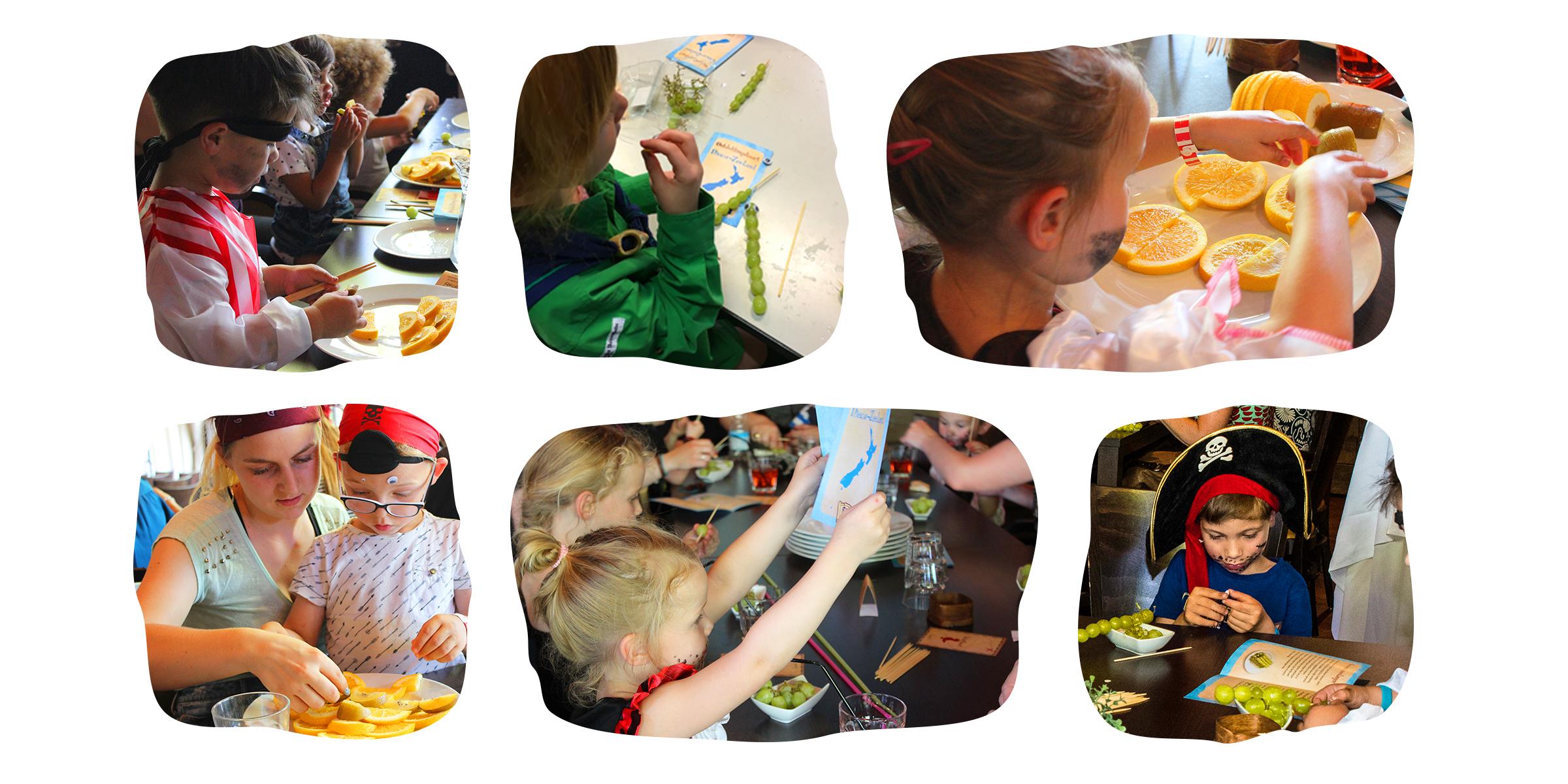 Foto's van kinderen tijdens workshops
