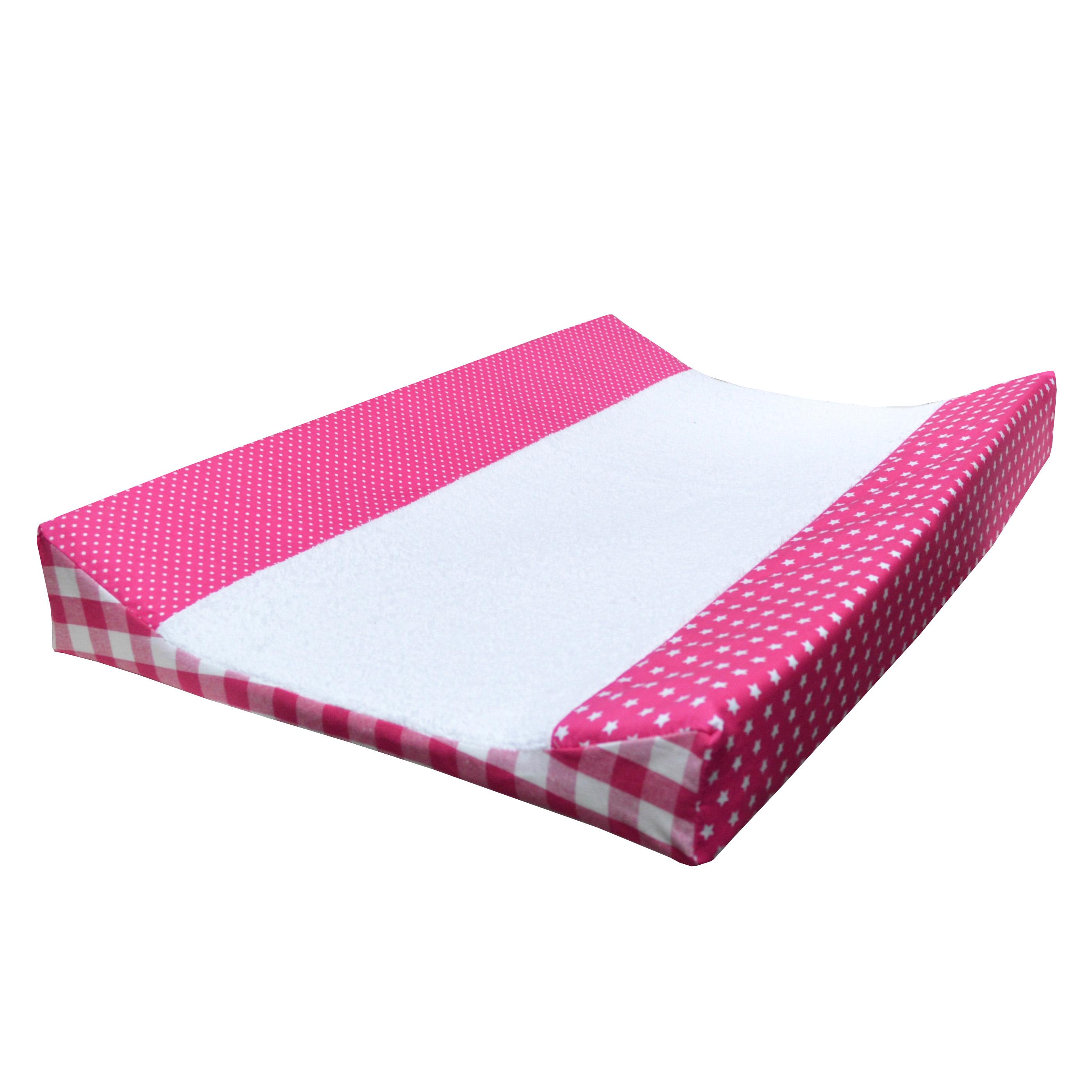 aankleedkussenhoes roze sterren ruitjes