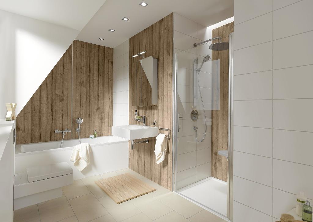 Badkamer Met Hout : Wandpanelen met houtlook