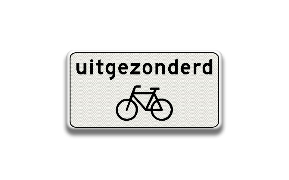 Afbeeldingsresultaat voor uitgezonderd fietsen bord